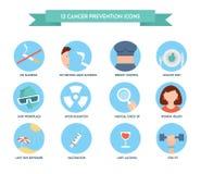 De pictogrammen van de kankerpreventie Gezondheidszorg en de Medische Reeks van het Pictogram Royalty-vrije Stock Foto