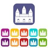 De pictogrammen van de kasteeltoren geplaatst vlak Stock Fotografie