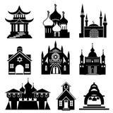 De pictogrammen van de kerk Stock Afbeeldingen