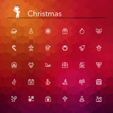 De pictogrammen van de Kerstmislijn Stock Afbeeldingen