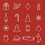 De pictogrammen van de Kerstmislijn voor Web en vakantie worden geplaatst die Royalty-vrije Stock Foto's