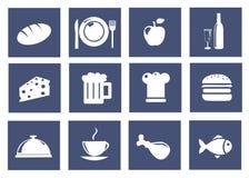 De pictogrammen van de keuken en van het voedsel Stock Afbeelding