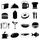 De pictogrammen van de keuken en van het voedsel Stock Afbeeldingen