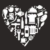 De pictogrammen van de keuken en van het voedsel Stock Foto's