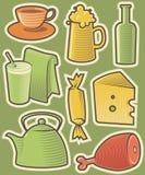 De pictogrammen van de kleur met voedsel Royalty-vrije Stock Afbeeldingen