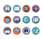 De pictogrammen van de kleureninterface Stock Foto