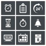 De pictogrammen van de klok en van de tijd stock illustratie