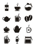 De pictogrammen van de koffie Stock Afbeelding