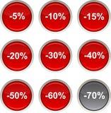 De pictogrammen van de korting. Stock Afbeelding