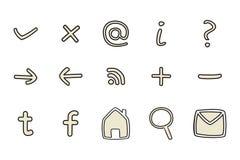 De pictogrammen van de krabbel geplaatst die op witte achtergrond worden geïsoleerdr Royalty-vrije Stock Afbeeldingen