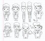 De pictogrammen van de krabbelchef-kok Stock Fotografie