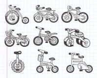 De pictogrammen van de krabbelfiets Stock Foto
