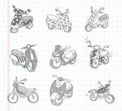 De pictogrammen van de krabbelmotorfiets Royalty-vrije Stock Foto's