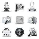De pictogrammen van de lading   B&W reeks Royalty-vrije Stock Afbeelding