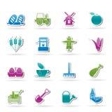De pictogrammen van de landbouw en van de landbouw Stock Afbeeldingen