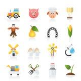 De pictogrammen van de landbouw en van de landbouw Stock Fotografie