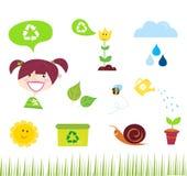 De pictogrammen van de landbouw, van de tuin en van de aard royalty-vrije illustratie