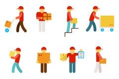 De pictogrammen van de leveringsmens Stock Foto