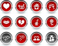 De pictogrammen van de liefde. Stock Fotografie