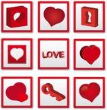 De pictogrammen van de liefde Stock Foto's