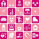 De pictogrammen van de liefde royalty-vrije illustratie