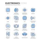 De Pictogrammen van de lijnelektronika stock illustratie