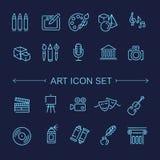 De pictogrammen van de lijnkunst Muziek, theater en artistieke pictogrammen royalty-vrije illustratie