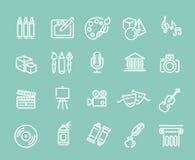 De pictogrammen van de lijnkunst Muziek, theater en artistieke pictogrammen vector illustratie