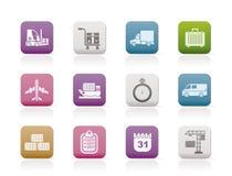 De pictogrammen van de logistiek, het verschepen en vervoers Stock Foto's