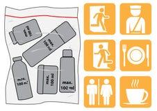 De pictogrammen van de luchthaven Stock Fotografie