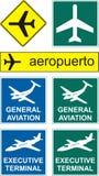 De pictogrammen van de luchthaven Stock Afbeeldingen