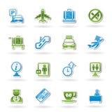 De pictogrammen van de luchthaven en van het vervoer Royalty-vrije Stock Foto