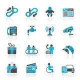 De pictogrammen van de luchthaven, van de reis en van het vervoer Royalty-vrije Stock Afbeeldingen