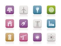 De pictogrammen van de macht, van de energie en van de elektriciteit Stock Foto's