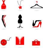 De pictogrammen van de manier en het winkelen Stock Afbeeldingen