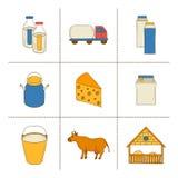 De pictogrammen van de melkproductie Royalty-vrije Stock Foto