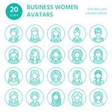 De pictogrammen van de mensenlijn, bedrijfsvrouwenavatars Overzichtssymbolen van vrouwelijke beroepen, secretaresse, manager, ler vector illustratie