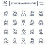 De pictogrammen van de mensenlijn, bedrijfsvrouwenavatars Overzichtssymbolen van vrouwelijke beroepen, secretaresse, manager, ler stock illustratie