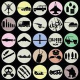 De pictogrammen van de Militaryikleur Stock Afbeeldingen