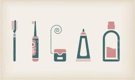 De pictogrammen van de mond en van de tandenzorg Stock Foto's