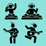 De pictogrammen van de muziek Stock Fotografie