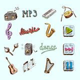 De pictogrammen van de muziek Stock Foto's