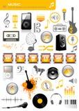 De pictogrammen van de muziek Stock Foto