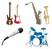 De pictogrammen van de muziek: trommels, gitaren? Stock Afbeeldingen