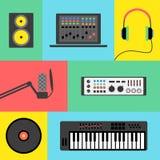 De pictogrammen van de muziekproductie Stock Fotografie