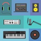 De pictogrammen van de muziekproductie Stock Foto