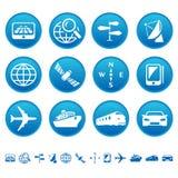 De pictogrammen van de navigatie & van het vervoer Stock Foto's