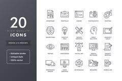 De Pictogrammen van de ontwerplijn Stock Afbeelding