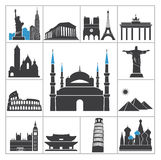 De pictogrammen van de oriëntatiepuntreis Stock Foto's