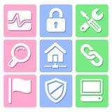 De pictogrammen van de pastelkleurwebsite geplaatst voor om het even welk gebruik, Vectoreps10 groot Stock Foto